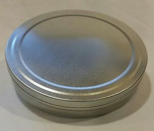 5-2-034-x-8-034-Round-FLAT-Tin-Containers-w-slip-lids-12-NEW-Candles-Spices-Beads