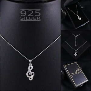 Musik-Kette-Halskette-925-Sterling-Silber-Damen-SWAROVSKI-ELEMENTS-im-ETUI