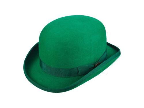 """SCALA /""""St Patrick/'s Day/"""" Low Crown Lined Wool Felt Bowler Hat,Color Kelly Green"""
