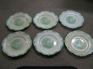 Antique-Green-Transfer-Ware-Ridgeway-Humphrey-039-s-6-Dinner-Plates-amp-3-Chipped-Free