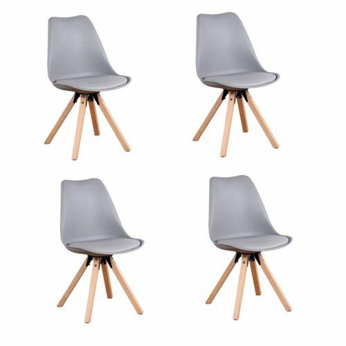 4 × Holzstühle Esszimmer Retro Bürostühle mit Kissen Quadratisches Bein Grau