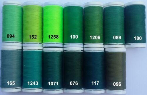 Nähgarn 2 Rollen à 200M 1A Qualität Grüntöne grün €1,00//100m