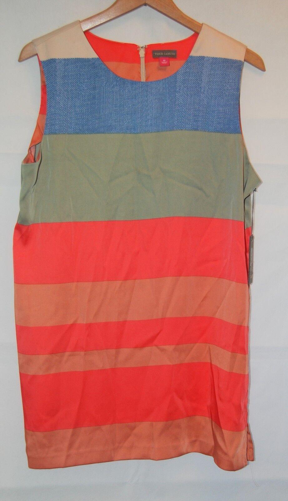 NWT Vince Camuto Short Club Dress M Denim bluee Sage Coral Peach Striped Party