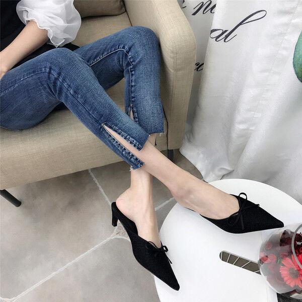 Sandali eleganti sabot  ciabatte stiletto negro 5 cm comodi pelle sintetica  9921