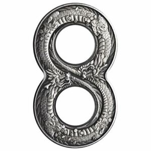 2018-Perth-Mint-Figure-Eight-Dragon-Antiqued-2-oz-Silver-Proof-Coin