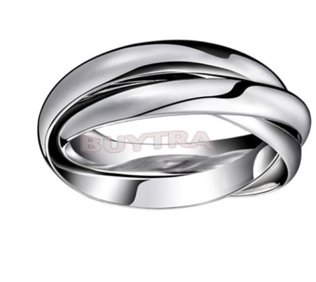 Hot New Silver Plated Triple Interlocked Rolling Wedding Band Ring Adjustable FT
