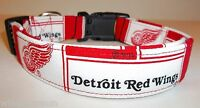 Detroit Red Wings Terri's Dog Collar Custom Made Adjustable With Nhl Fabric