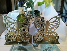 """Vintage Solid Brass Butterfly Bookends Hinged Folding Made in Hong Kong 5"""" Tall"""
