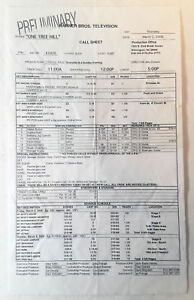 ONE-TREE-HILL-set-used-CALL-SHEET-Season-3-Episode-20