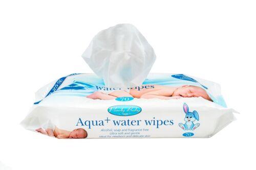 Aqua 99.25/% water Sensitive skin Water Wipes 2 packs of 70 wipes