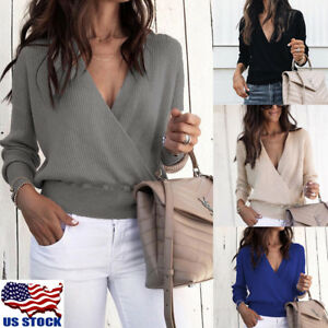 Womens-Wrap-V-Neck-Tops-Sweater-Jumper-Ladies-Long-Sleeve-Loose-Blouse-Shirts-US