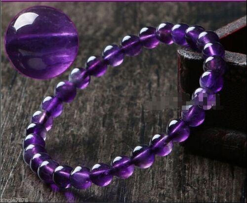 "8 mm violet Amethyst Crystal Round Gemstone Beads Bracelet 7.5/"""