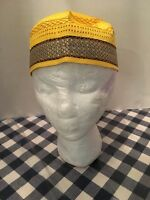 Men's Islamic Kufi Topi Golden Rigid Kofi Cap Muslim Salah 22 Inches Size