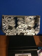 Avon Large Silver/Black Paisley Makeup Bag Teen/Women easy wipe clean