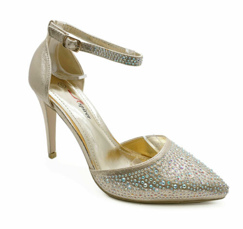 WOMENS GOLD DIAMANTE DRESS WEDDING PARTY EVENING PROM POINTY COURT SHOES 3-7