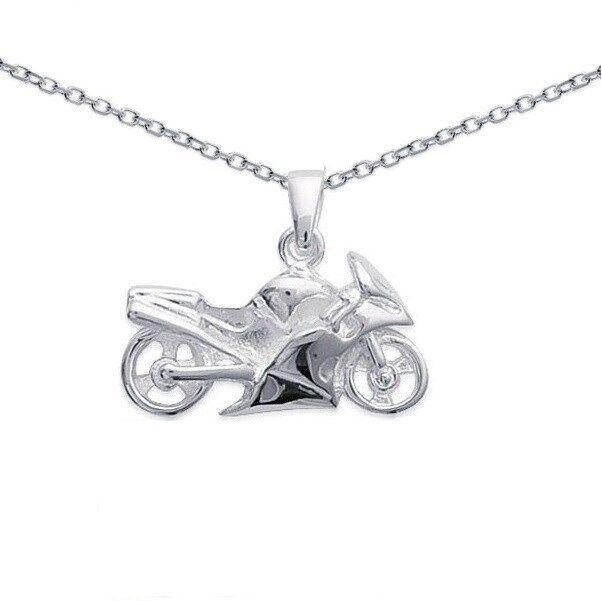 PENDENTIF MOTO special motard argento argento argento NEUF + CHAINE b45495