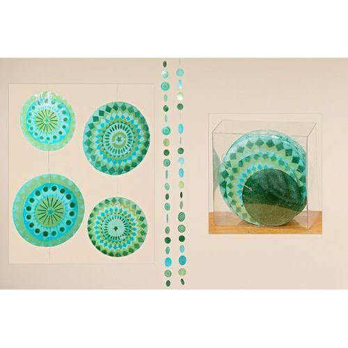 Capiz Muschel Girlande Perlmutt blau grün L180 cm 2fach sortiert 1 Stück
