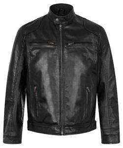 Slim Retro Sheep Black Soft Nappa Style Leather Jacket Men New Biker Real Fit gRq1YH