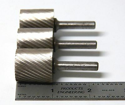 "3 pc 1"" Single Cut Cylinder HSS Rotary Burr Files American Made Aircraft Tool"