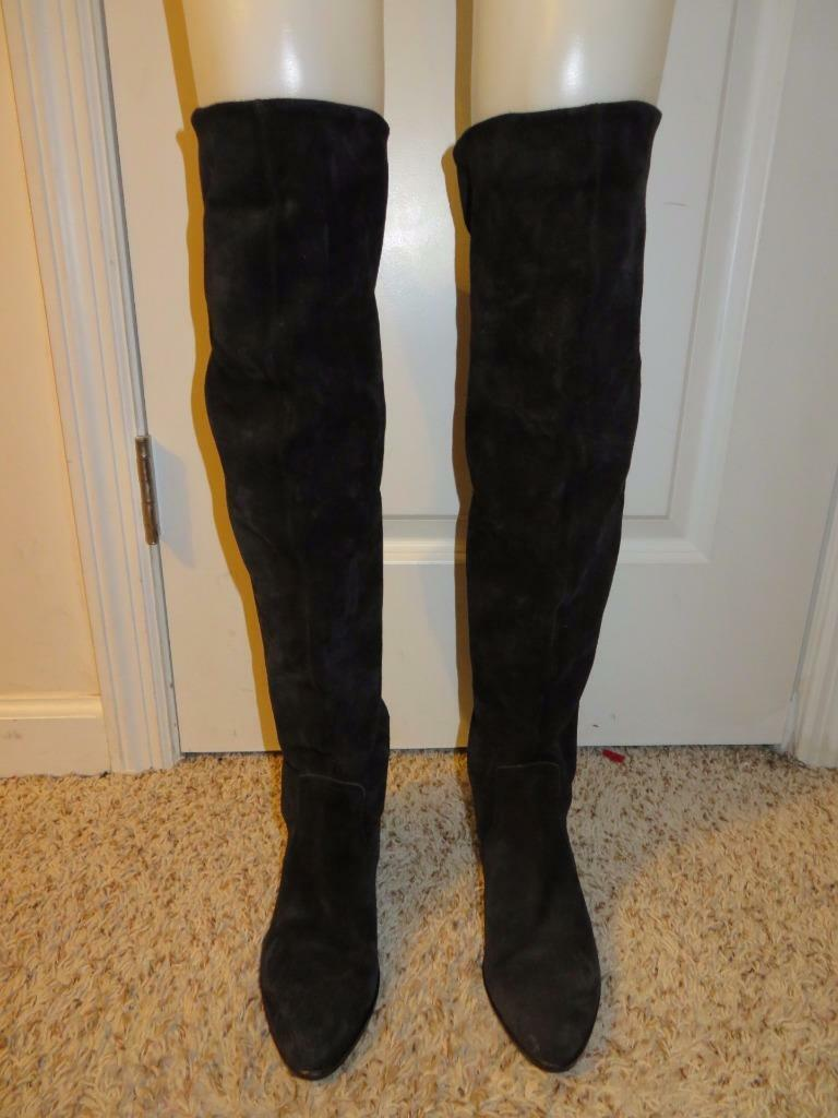 WOMENS PIED A TERRE BLACK SUEDE KNEE-HIGH PULL ON BOOTS SIZE 38
