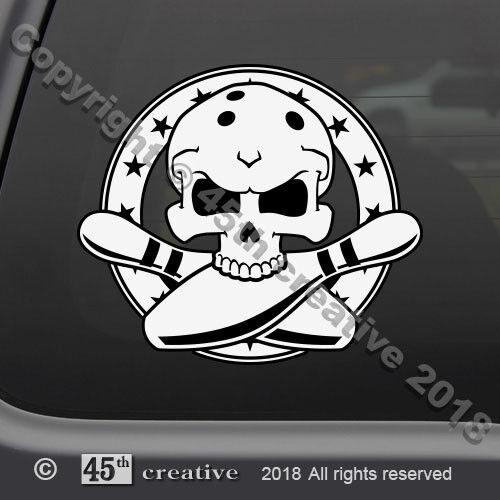 Bowling Skull Crossbones Decal bowler skull decal bowling team skull sticker