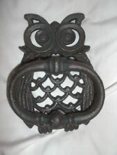 Vintage Look Owl Cast Iron Door Knocker Rustic Finish Old Country French Decor