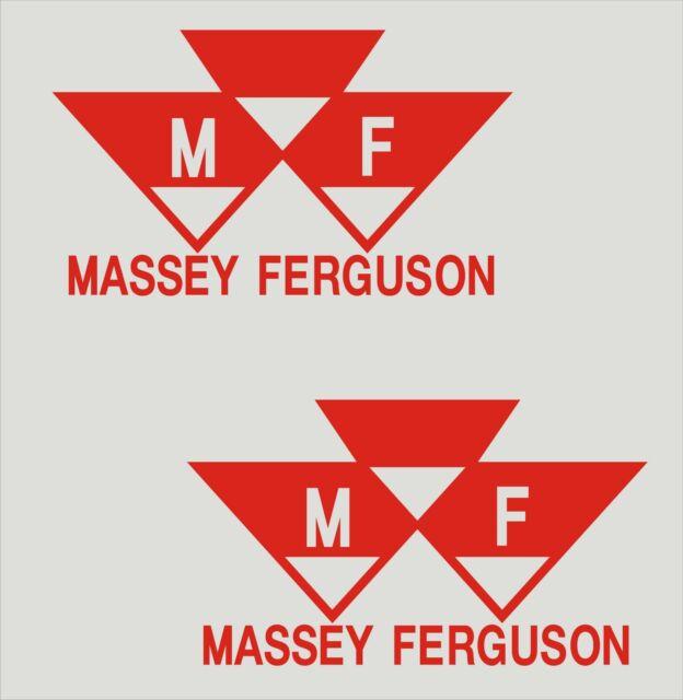 "SILVER MASSEY FERGUSON TRACTOR DIE CUT DECAL STICKER 10/"" X 1.5/"" SET OF 2"