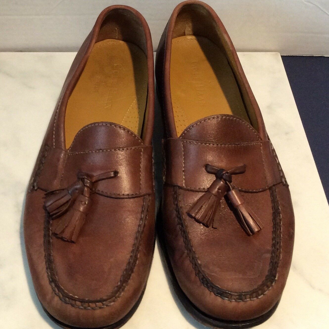 COLE HAAN Mens Size 10 Brown British Leather Tassle Loafers shoes