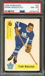 1958-PARKHURST-33-FRANK-MAHOVLICH-PSA-8-HOF-MAPLE-LEAFS-NICELY-CENTERED-ADT0478