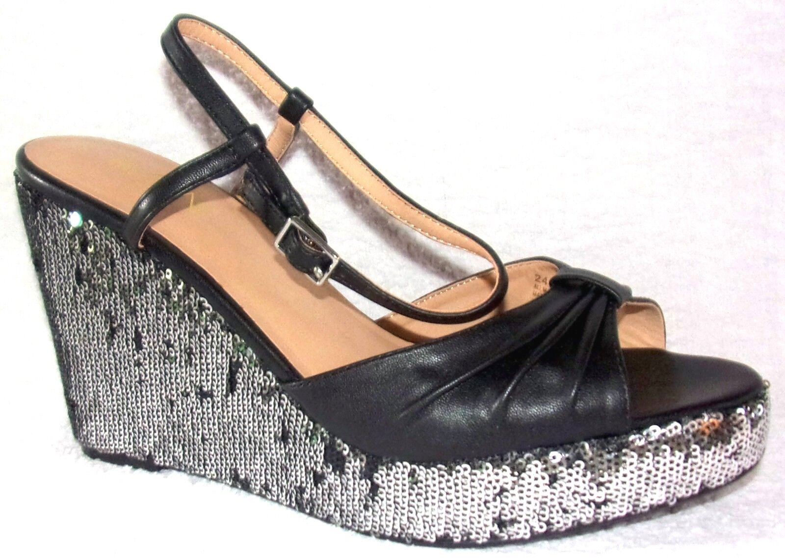 New IMAN the Global Chic Glam to the IMAN Max Black Comfort WedgePlatform Sandals 9 M 987460