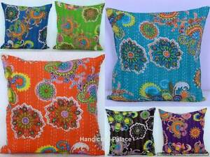Indian-Cushion-Cover-Handmade-Floral-100-Cotton-Embroidered-Kantha-Pillow-Cover