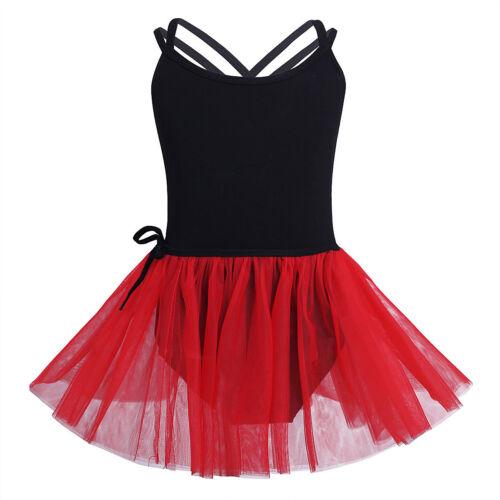 Girls Ballet Gymnastics Dance Dress Sleeveless Leotards+Tutu Skirt Set Dancewear