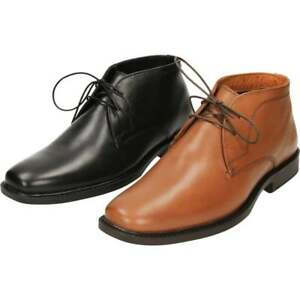 red tape lace up leather formal ankle boots chukka casual