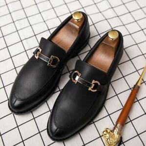 Mens-Leather-Slip-On-British-Dress-Formal-England-Casual-Slip-On-Loafers-Shoes