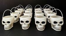 16 Halloween Mini White Plastic Skull Buckets Party Favor Candy Treat Skeleton