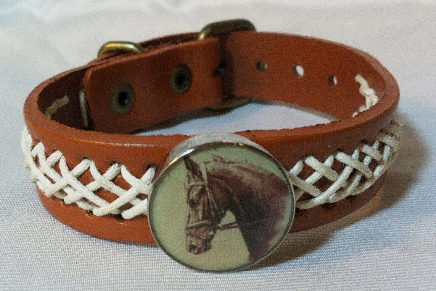HORSE SNAP & LEATHER twine stitch BRACELET 18-20MM YOUNG RACE HORSE BUBBLES
