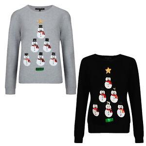 Womens Ladies Novelty Sequin Snowman Christmas Xmas Girls Thin Knit Jumper New