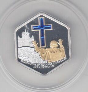 Cook-Iles-5-2007-Visite-Du-Pape-Loreto-Argent-Application-D-039-or-Swarowski