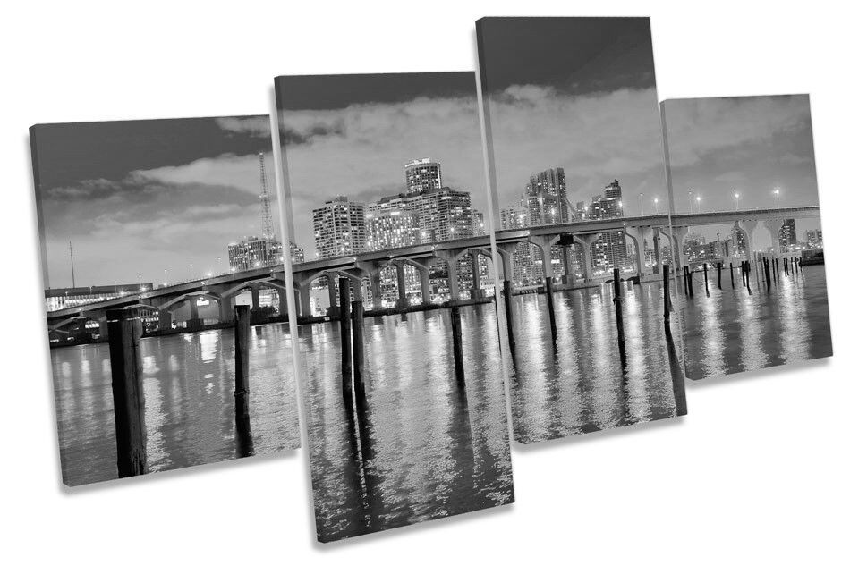 Miami Florida Skyline Skyline Skyline Sunset B&W Picture MULTI CANVAS WALL ART Print ac1e9a