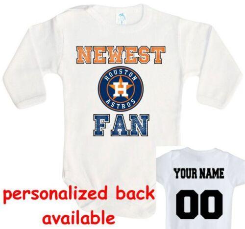 Baby bodysuit Newest fan Houston Astros baseball One Piece jersey personalized