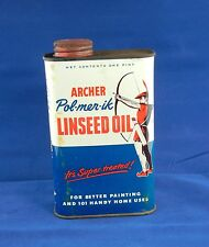 Vintage Advertising Oil Can Archer Linseed Oil - One Pint
