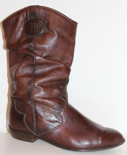 Slouch Stiefeletten Leder True Stiefel Ara Vintage Boots Vtg 38 80s Leather 80er Rx0wWqHaz