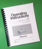 Laser Printed Panasoni Ag-dvc7p Video 54 Page Owners Manual Guide