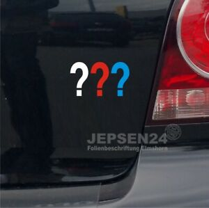 Drei-Fragezeichen-Aufkleber-7x4cm-S076-fuer-Auto-Notebook-Handy-Weiss-Rot-Blau