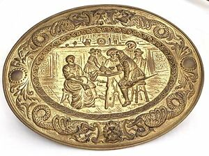 Oval-Brass-Plate-Plaque-Huge-25-034-Lx19-034-H-High-Relief-Old-Hammered-Pub-Scene