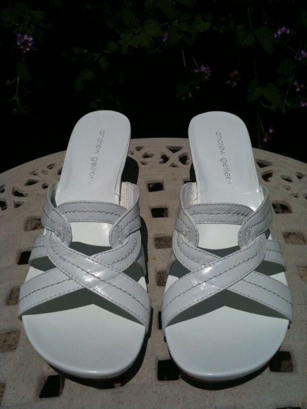ANDREW GELLER Clayton Sandal Heels ~ NEW White 9.5