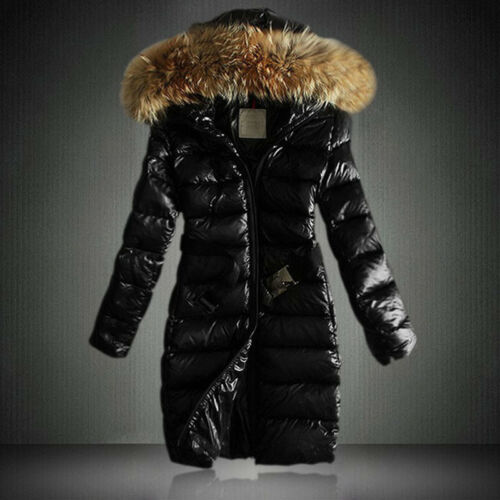 Women Fur Collar Hooded Quilted Puffer Coat Belt Padded Bubble Long Parka Jacket