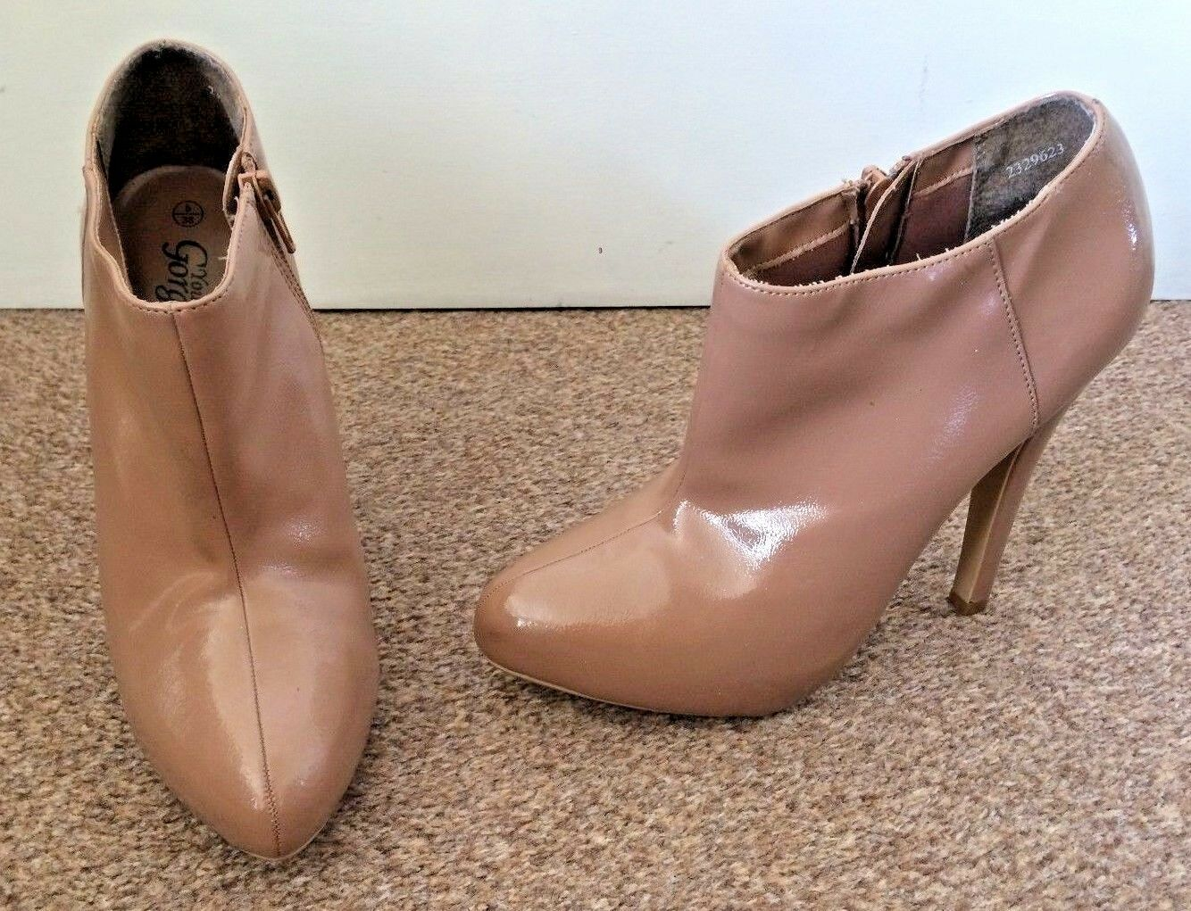 Ladies New Look Brown Shiny High Heel Ankle Boots Zip Up Size 5 SB1