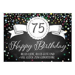 Große Xxl Glückwunsch Karte Zum 75 Geburtstag Mit Umschlag Din A4