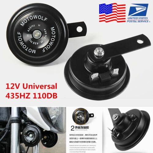 USA 2Pcs 12V 435HZ 110dB Motorcycle Loud Tone Snail Horn Loudspeaker Waterproof